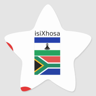 Xhosa Language And South Africa/Lesotho Flags Star Sticker
