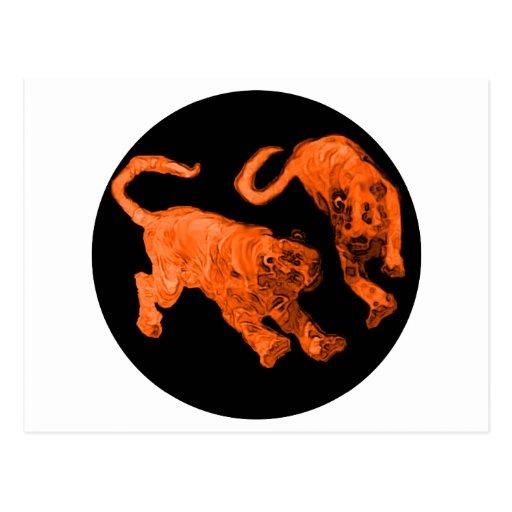 Xian China 2002 Orange Ghost Tigers Black Circle T Postcards