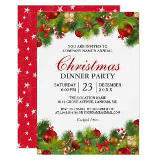Xmas Baubles Pines Berries Annual Christmas Party Card
