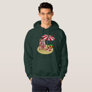 xmas beach santa claus mens hooded sweatshirt