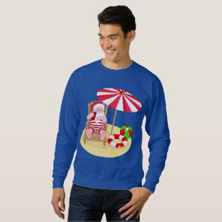 xmas beach santa claus mens sweatshirt