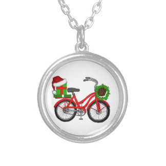 xmas bike silver plated necklace