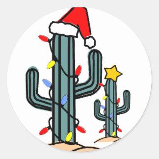 Xmas Cactus Classic Round Sticker