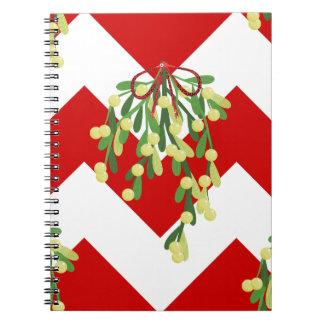 xmas chevron mistletoe notebooks