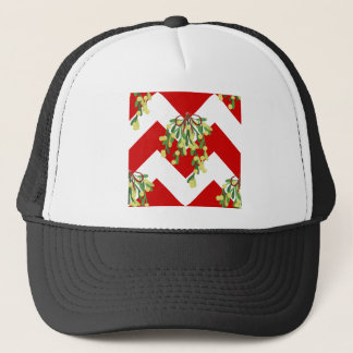 xmas chevron mistletoe trucker hat