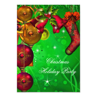 "Xmas Christmas Holiday Party Gold Red Green 4.5"" X 6.25"" Invitation Card"