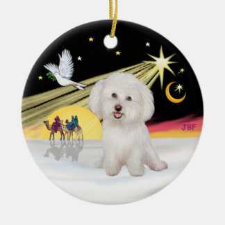 Xmas Dove - Bichon Frise #7 Round Ceramic Ornament