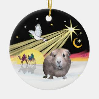 Xmas Dove - Guinea Pig #2 Round Ceramic Ornament