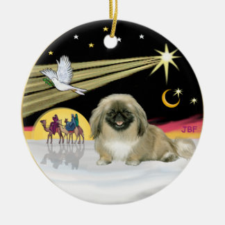 Xmas Dove - Pekingese (black mask) Round Ceramic Ornament