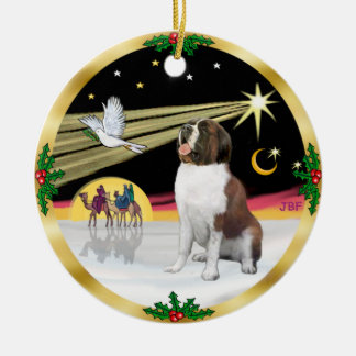 Xmas Dove - Saint Bernard Round Ceramic Ornament
