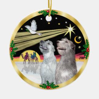 Xmas Dove - Two Irish Wolfhounds Ceramic Ornament