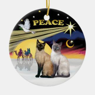 Xmas Dove - Two Siamese cats Choc+Blue Christmas Ornaments