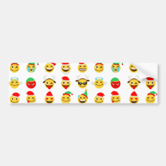 xmas emoji happy faces bumper sticker