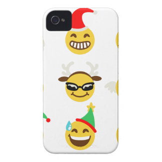 xmas emoji happy faces Case-Mate iPhone 4 case