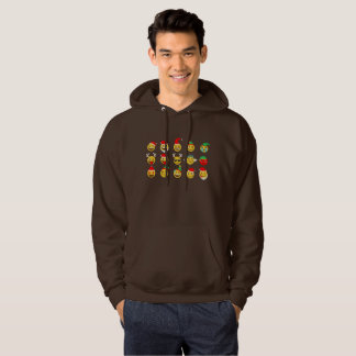 xmas emoji happy faces mens hooded sweatshirt