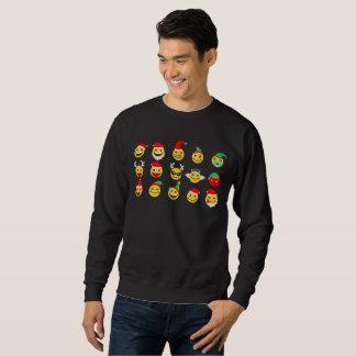 xmas emoji happy faces mens sweatshirt