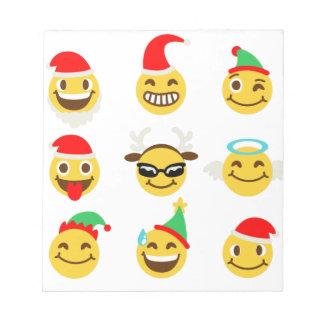 xmas emoji happy faces notepad