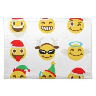 xmas emoji happy faces placemat