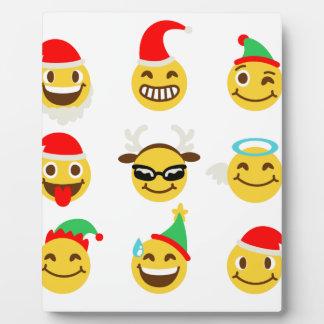xmas emoji happy faces plaque