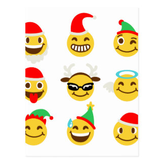 xmas emoji happy faces postcard