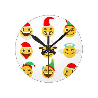 xmas emoji happy faces round clock