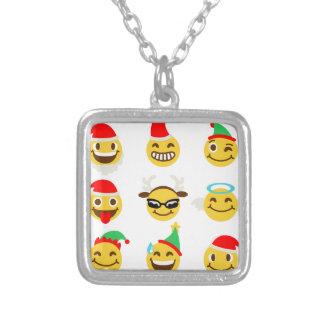 xmas emoji happy faces silver plated necklace