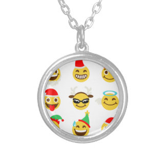 xmas emoji happy faces silver plated necklace