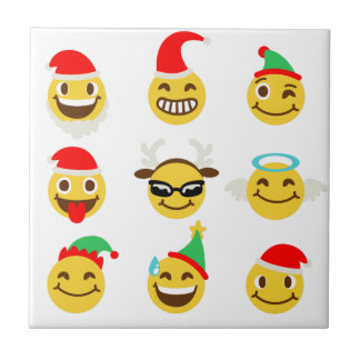 xmas emoji happy faces tile