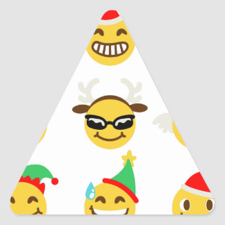 xmas emoji happy faces triangle sticker