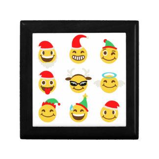 xmas emoji happy faces trinket box