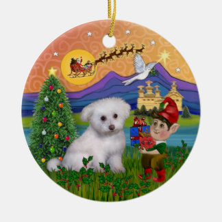 Xmas Fantasy - Bichon Frise Puppy Round Ceramic Ornament