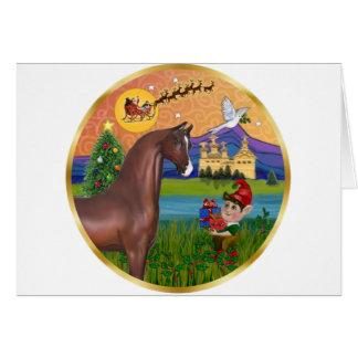 Xmas Fantasy - Brown Arabian Horse Card