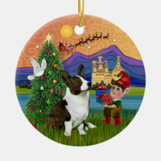 Xmas Fantasy -  Cardigan Welsh Corgi Round Ceramic Ornament