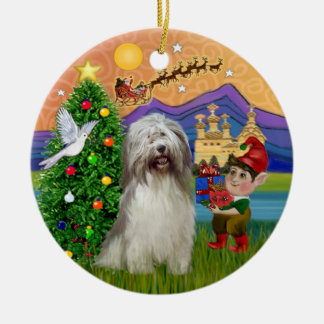 Xmas Fantasy - Polish Lowland Sheepdog (#7) Ceramic Ornament