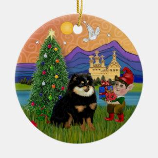 Xmas Fantasy - Pomeranian (black & tan) Ceramic Ornament