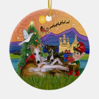 Xmas Fantasy - Two Whippets Ceramic Ornament