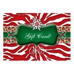 Xmas Gift Card Zebra Leopard Snowflake