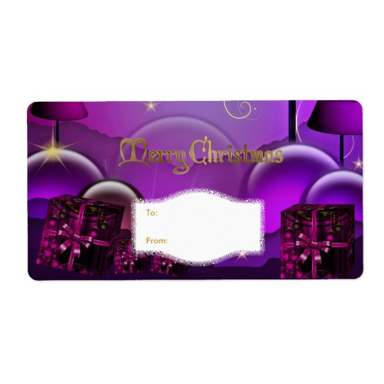 Xmas Gift Label Purple White Christmas Shipping Label