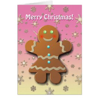 Xmas Gingerbread Cookie In Party Dress Card