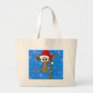 Xmas giraffe - blue large tote bag