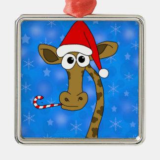 Xmas giraffe - blue Silver-Colored square ornament