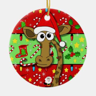 Xmas giraffe - colorful round ceramic ornament