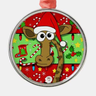 Xmas giraffe - colorful Silver-Colored round ornament