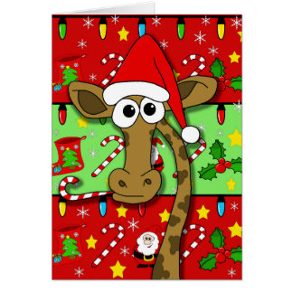 Xmas giraffe - colourful card
