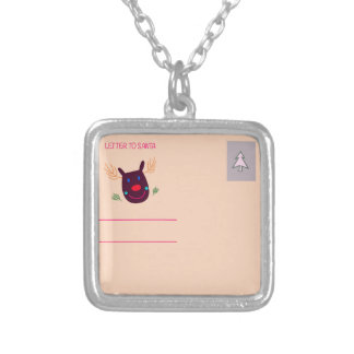 Xmas greeting kids design silver plated necklace