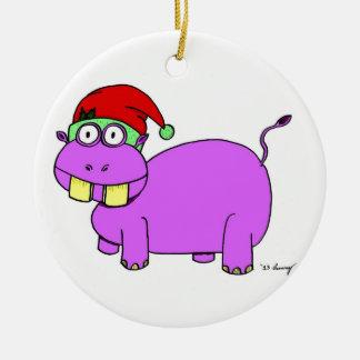 Xmas Hippo Circle Ornament - Red