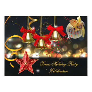 "Xmas Holiday Christmas Party Gold Red Black 4.5"" X 6.25"" Invitation Card"