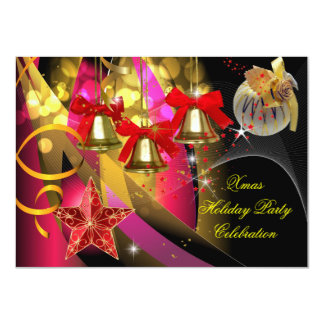 """Xmas Holiday Christmas Party Pink Gold Red Black 4.5"""" X 6.25"""" Invitation Card"""