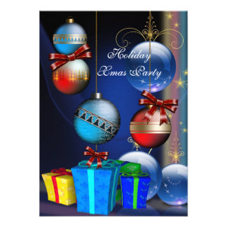 Xmas Holiday Party Red Blue Gifts Boxes Balls Custom Invites