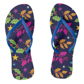 Xmas Holly and Berries Festive Patterned Flip Flops